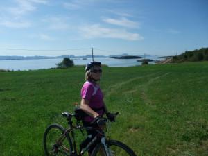 Greta sykkel og utsikt